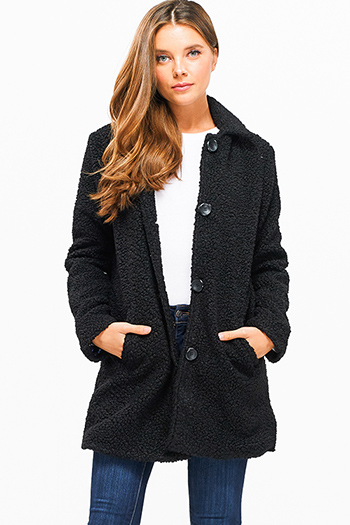 $30 - Cute cheap print fringe jacket - black sherpa fleece peacoat long sleeve pocketed button up coat jacket