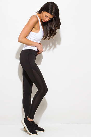 $10 - Cute cheap black bow tie high waisted harem pants - black side see through mesh panel fitness yoga leggings pants