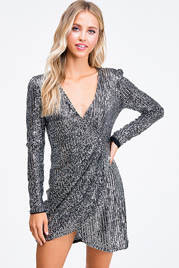 $40 - Cute cheap ruched sexy club mini dress - Black silver sequin v neck long sleeve faux wrap cocktail party mini dress