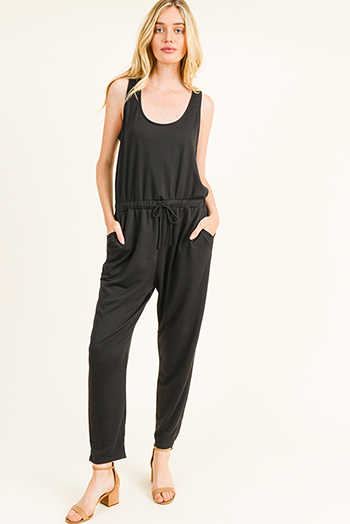 $20 - Cute cheap black cotton blend elastic waisted running lounge shorts - Black sleeveless drawstring tie waist pocketed harem jogger jumpsuit