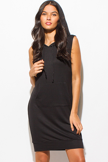 $15 - Cute cheap backless cocktail maxi dress - black sleeveless pocketed hooded lounge sweatshirt midi dress
