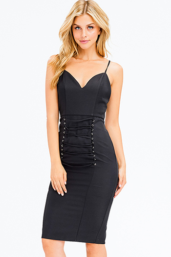 $15 - Cute cheap off shoulder slit dress - black sleeveless sweetheart neck laceup corset detail bodycon fitted sexy club midi dress