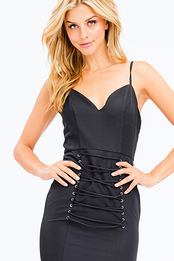 $20 - Cute cheap blue ruched sexy club dress - black sleeveless sweetheart neck laceup corset detail bodycon fitted club midi dress