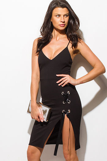 $15 - Cute cheap crepe slit sun dress - black spaghetti strap deep v neck laceup slit side bodycon fitted pencil sexy club midi dress