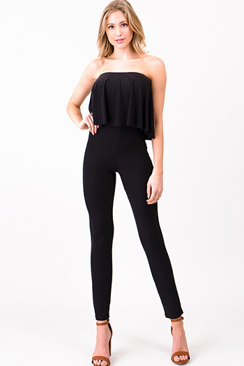 $25 - Cute cheap black stripe strapless sweetheart neck cut out wide leg resort evening jumpsuit - Black strapless ruffle tiered bodycon fitted sexy club evening catsuit jumpsuit