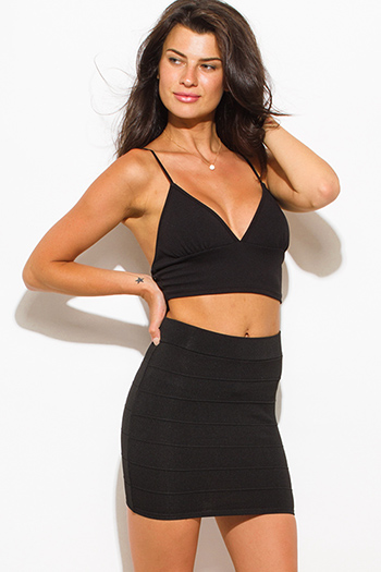 $10 - Cute cheap v neck sexy club catsuit - black stretch ribbed knit bandage bodycon fitted club mini skirt