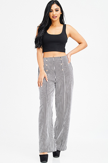 $12 - Cute cheap blue washed denim ripped distressed high waisted crop boyfriend jeans - black striped high waisted golden button detail resort wide leg sailor pants