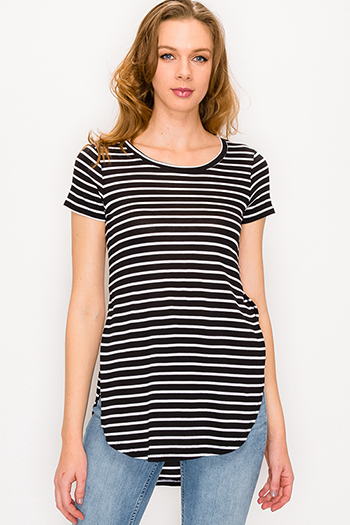 $15 - Cute cheap blue long sleeve tunic - Black striped round neck short sleeve side slit curved hem tee shirt tunic top