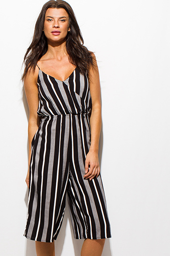$15 - Cute cheap rose coral deep v neck high slit wide leg jumpsuit - black striped sleeveless faux wrap tie back boho cropped wide leg jumpsuit