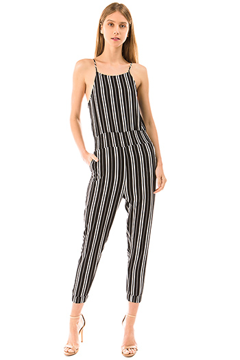$35 - Cute cheap open back evening jumpsuit - black striped sleeveless pocketed boho resort evening harem jumpsuit