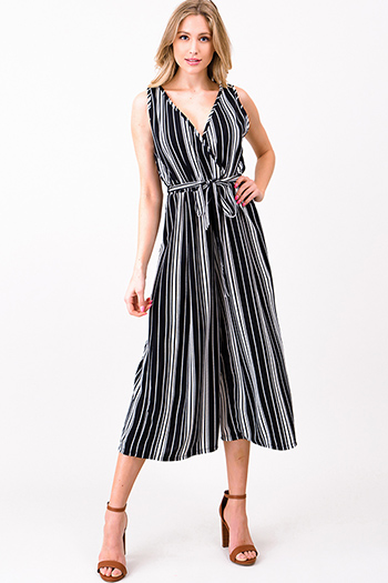 $15 - Cute cheap open back wrap jumpsuit - Black striped sleeveless surplice tie waist wide leg boho cropped jumpsuit
