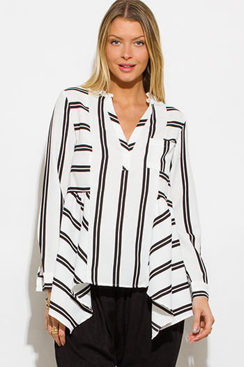 $15 - Cute cheap white sheer crochet blouse - black white stripe v neck indian collar long sleeve resort peasant blouse top