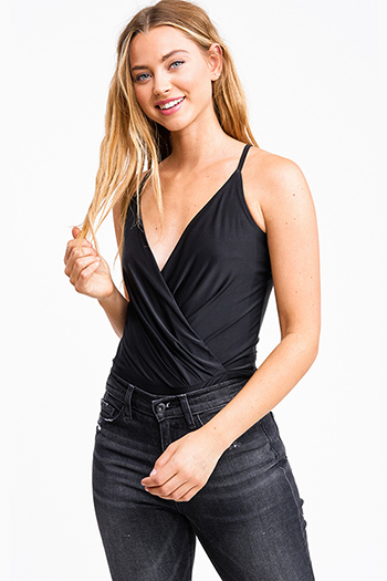 $20 - Cute cheap ruched sexy club mini dress - Black surplice draped v neck cross back club bodysuit top