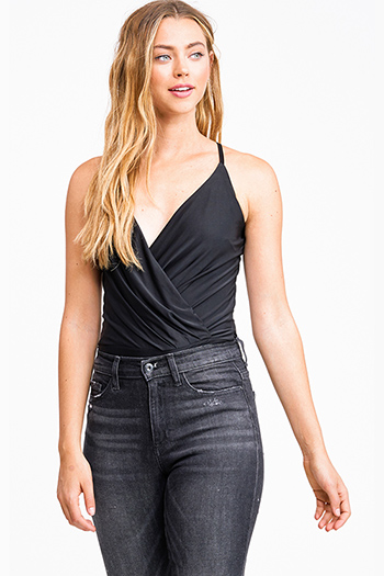 $18 - Cute cheap bodysuit - Black surplice draped v neck cross back sexy club bodysuit top