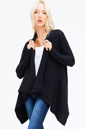 $20 - Cute cheap black faux leather pocket bat wing sleeve hoodie jacket - black textured sweater knit waterfall draped open front boho cardigan jacket