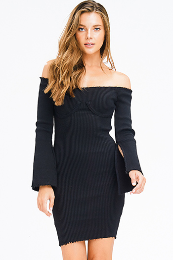 $20 - Cute cheap long sleeve party dress - black sweater ribbed knit off shoulder long slit bell sleeve fitted bodycon sexy club midi dress