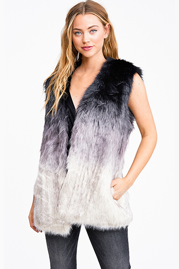 $35 - Cute cheap chiffon ruffle sexy party dress - Black taupe ombre faux fur open front pocketed party vest top