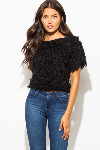$15 - Cute cheap v neck fringe sweater - black textured boat neck wide short sleeve knit sweater top