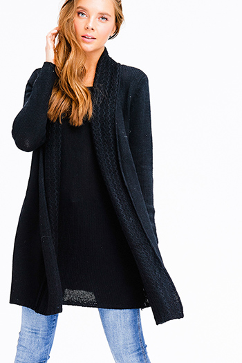 $13 - Cute cheap black ribbed knit surplice faux wrap long slit sleeve wrist tie boho top - black textured knit long sleeve draped collar layered boho sweater tunic mini dress