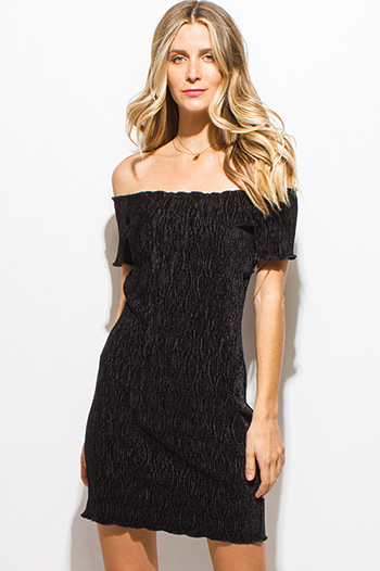 $10 - Cute cheap brown open back dress - black textured velvet off shoulder short sleeve lettuce hem sexy club mini dress
