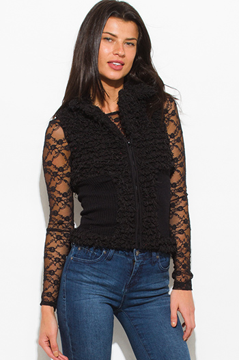 $10 - Cute cheap black mandarin collar long sleeve zip up fitted jacket crop top - black textured zip up faux fur banded fitted sexy clubbing vest top