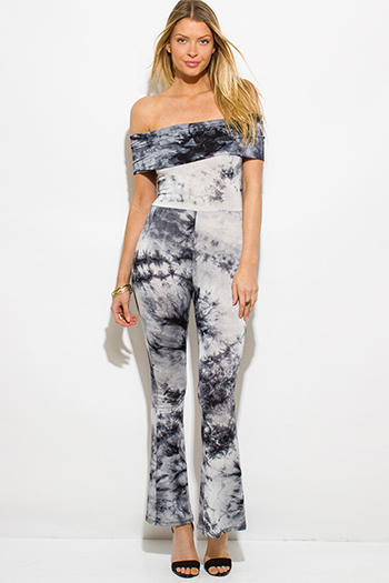 $20 - Cute cheap off shoulder pocketed jumpsuit - black tie dye boho off shoulder flare leg sexy clubbing catsuit jumpsuit