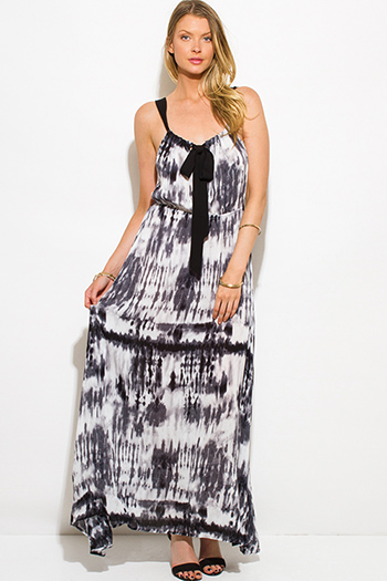 $15 - Cute cheap wrap evening sun dress - black tie dye print boho maxi sun dress