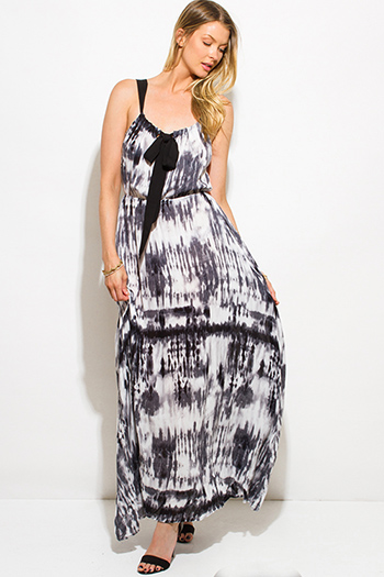 $15 - Cute cheap crepe slit sun dress - black tie dye print boho maxi sun dress