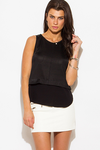 $7 - Cute cheap white sleeveless secretary blouse bow tie top - black tiered knit chiffon contrast sleeveless blouse top