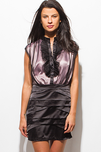 $15 - Cute cheap purple deep v neck empire waisted kimono sleeve sexy club mini dress - black tulle mesh satin contrast sleeveless ruffled cocktail party mini dress