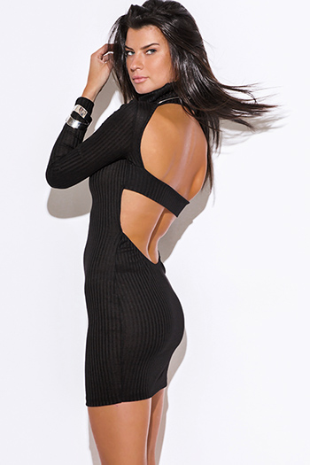 $12 - Cute cheap black abstract print shimmery metallic long sleeve fishnet mesh contrast cut out wrap front halter bodycon fitted sexy club mini dress - black turtleneck ribbed backless fitted bodycon long sleeve sweater mini dress