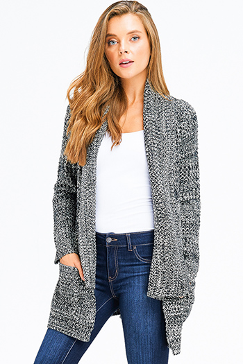 $20 - Cute cheap stone gray fuzzy knit quarter tiered bell sleeve round neck boho top - black two tone knit long sleeve draped neck open front pocketed boho sweater cardigan