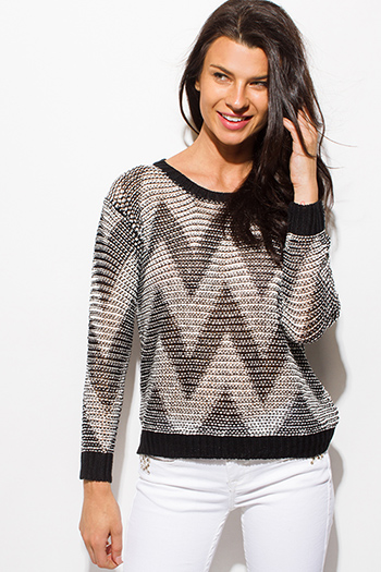 $15 - Cute cheap lace sheer long sleeve top - black two tone long sleeve chevron knit color block sweater knit top