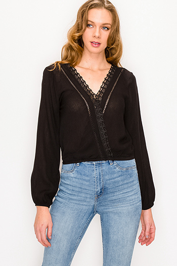 $15 - Cute cheap brown plaid print flannel long sleeve frayed hem button up blouse tunic top - Black v neck crochet trim faux wrap long sleeve boho blouse top