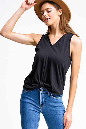 $5.00 - Cute cheap gauze boho top - Black v neck gathered knot front boho sleeveless top
