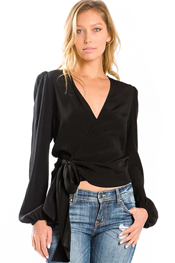 $30 - Cute cheap black high neck fitted sexy party crop top - black v neck long blouson sleeve wrap front crop blouse top