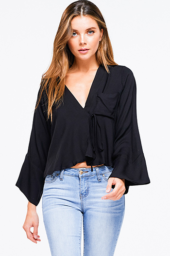 $15 - Cute cheap black pleated drawstring high waisted wide leg boho culotte pants - Black v neck long kimono sleeve tie front boho crop blouse top
