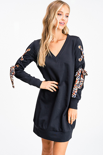 $15 - Cute cheap ribbed boho dress - Black v neck long sleeve floral print laceup sweatshirt tunic mini dress
