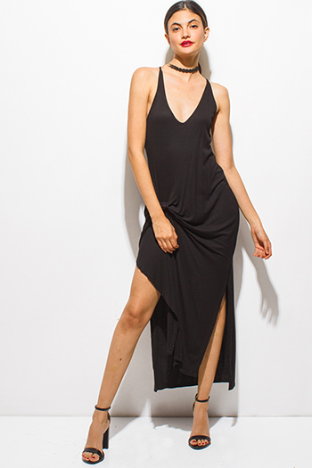 $15 - Cute cheap bejeweled evening sun dress - black low v neck ribbed knit knotted double side slit racer back evening sexy party maxi dress
