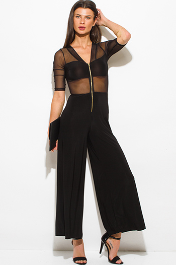 $15 - Cute cheap ribbed v neck jumpsuit - black v neck sheer mesh contrast half sleeve golden zipper wide leg evening sexy party jumpsuit