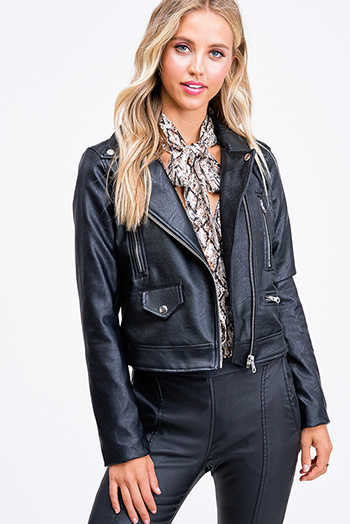 $35 - Cute cheap beach cover up - Black vegan faux leather asymmetrical zip up moto biker jacket