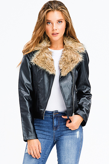 $30 - Cute cheap crochet jacket - black vegan faux leather faux fur collar pocketed zip up moto jacket