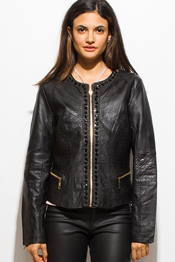 $20 - Cute cheap black long sleeve faux leather patch ribbed slub tee shirt top - black vegan faux leather long sleeve bejeweled zip up moto jacket