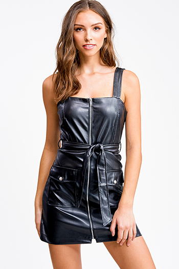 $20 - Cute cheap ribbed slit sexy club dress - Black vegan leather sleeveless zip up belted pocketed club mini dress