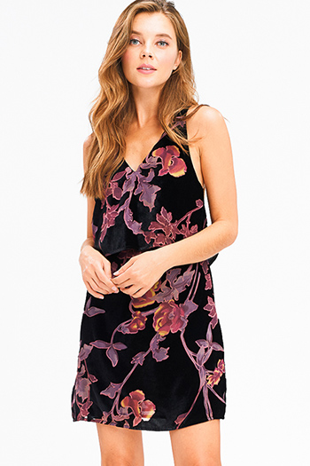 $12 - Cute cheap ruffle shift dress - Black velvet floral print burnout v neck tiered cut out back boho cocktail sexy party mini dress