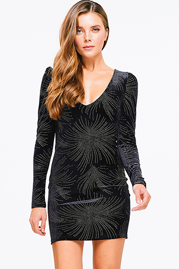 $14 - Cute cheap print slit evening dress - black velvet gold studded low v neck long sleeve fitted sexy club mini dress