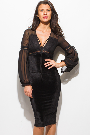 $15 - Cute cheap black caged dress - black velvet long chiffon blouson sleeve bustier pencil fitted cocktail sexy party midi dress
