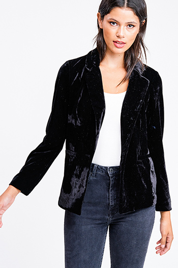 $25 - Cute cheap white asymmetrical hem quarter sleeve zip up fitted blazer jacket top - Black velvet long sleeve single button boho sexy party blazer jacket top