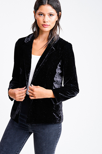 $20 - Cute cheap long sleeve top - Black velvet long sleeve single button boho sexy party blazer jacket top