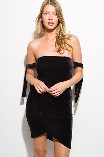 $15 - Cute cheap fitted sexy club dress - black velvet off shoulder tie sleeve faux wrap bodycon fitted club mini dress